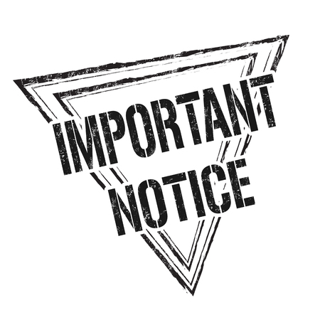 Important notice grunge rubber stamp on white background, vector Ilustração