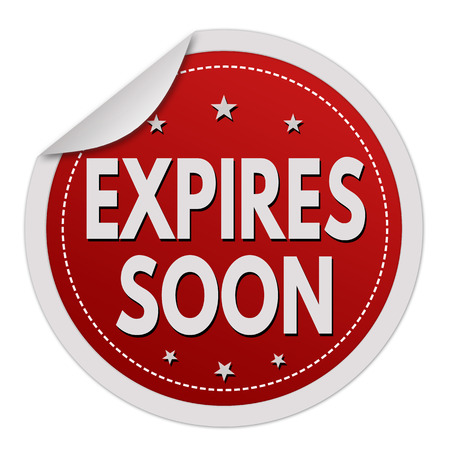 Expires soon red sticker on white background, vector illustration