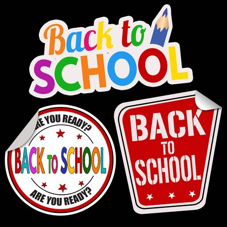 special education: Back to school sticker set on black background, vector illustration Illustration