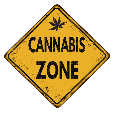 illegal zone: Cannabis zone vintage rusty metal sign on a white background, vector illustration