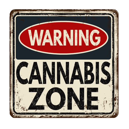 recreational: Warning cannabis zone vintage rusty metal sign on a white background, vector illustration Illustration