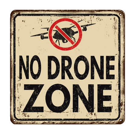 rusty metal: No drone zone vintage rusty metal sign on a white background, vector illustration
