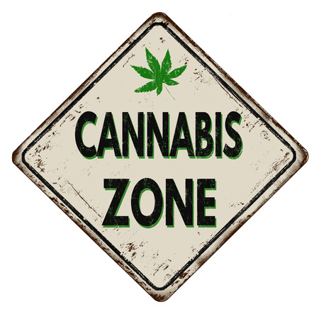 recreational drug: Cannabis zone vintage rusty metal sign on a white background, vector illustration