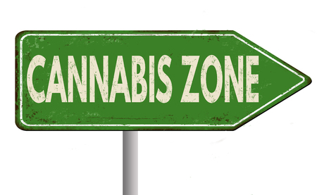 recreational drug: Cannabis zone vintage rusty metal road sign on a white background, vector illustration Illustration