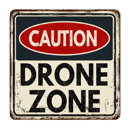Drone zone vintage rusty metal sign on a white background, vector illustration 矢量图像