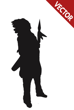 indian old man: Silhouette of a native american indian chief with spear on white background, vector illustration