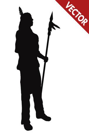 Silueta de una ilustración indio del nativo americano con la lanza sobre fondo blanco, vector