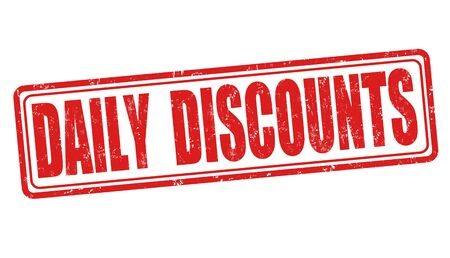 discounting: Daily discounts grunge rubber stamp on white background, vector illustration