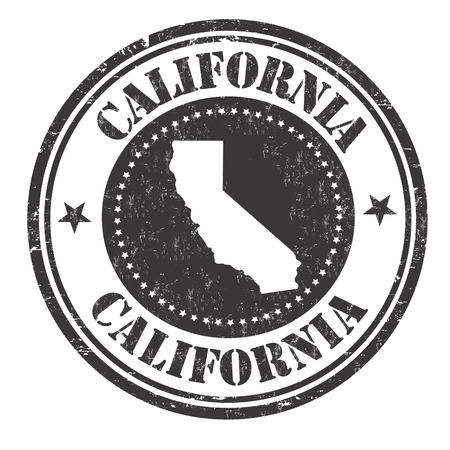 imprinted: Grunge rubber stamp with the name and map of California, vector illustration