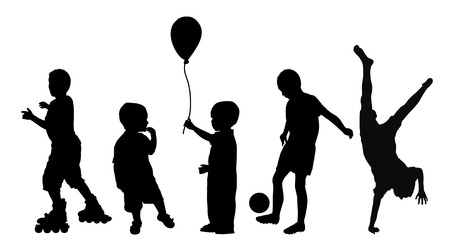 Black silhouettes of children playing on white background, vector illustration Ilustração