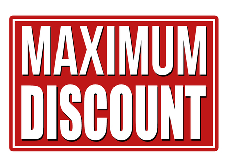 rebate: Maximum discount red sign on white background, vector illustration