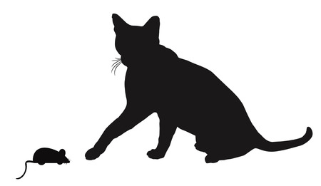 ink drawing: Cat and mouse  silhouettes on white background, vector illustration
