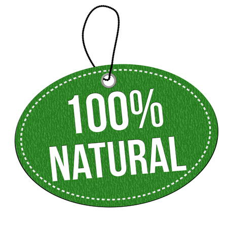 leather label: 100% natural green leather label or price tag on white background, vector illustration Illustration