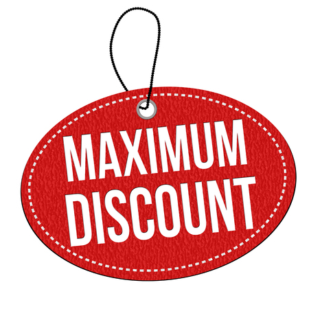 Maximum discount red leather label or price tag on white background, vector illustration