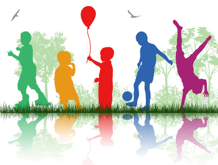 Colored silhouettes of children playing on white background, vector illustration Illustration