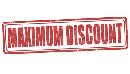 maximum: Maximum discount grunge rubber stamp on white background, vector illustration