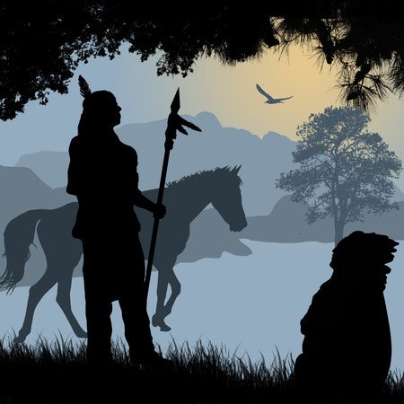 indian old man: Native american indian silhouettes with spear and horse on beautiful blue sunset, vector illustration Illustration