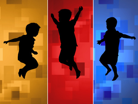 silhouettes of children: Children silhouettes jumping up in the air on colored abstract background, vector illustration