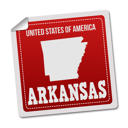 white sticker: Arkansas sticker or label on white background, vector illustration Illustration