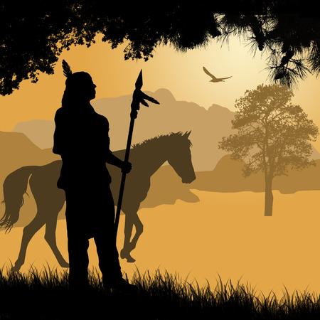 indios americanos: Nativo de la silueta de indio americano con la lanza y el caballo en la hermosa puesta de sol, ilustración vectorial