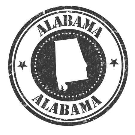 grunge rubber stamp: Grunge rubber stamp with the name and map of Alabama, vector illustration