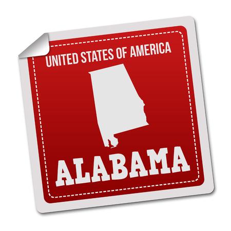 white sticker: Alabama sticker or label on white background, vector illustration Illustration