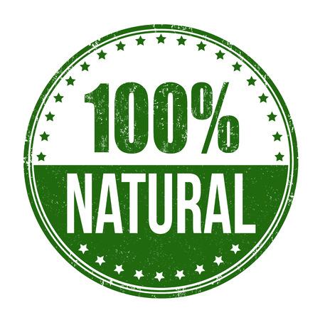 100% natural grunge rubber stamp on white background, vector illustration