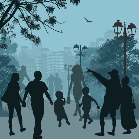 People in the city park on blue background, vector illustration