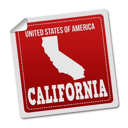 white sticker: California sticker or label on white background, vector illustration Illustration
