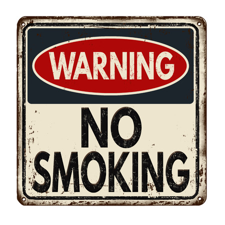 warnings: Warning no smoking zone vintage rusty metal sign on a white background, vector illustration Illustration