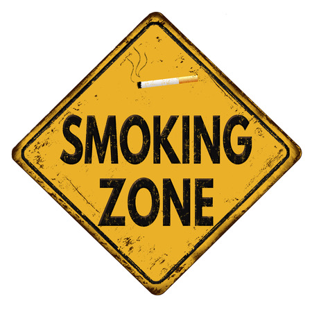 warnings: Smoking zone vintage rusty metal sign on a white background, vector illustration
