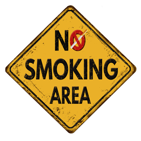rusty metal: No smoking area vintage rusty metal sign on a white background, vector illustration