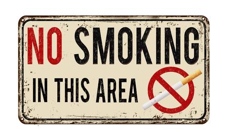 superficie: No fumar en este signo de metal oxidado vendimia zona en un fondo blanco, ilustración vectorial