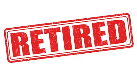 older people: Retired grunge rubber stamp on white background, vector illustration