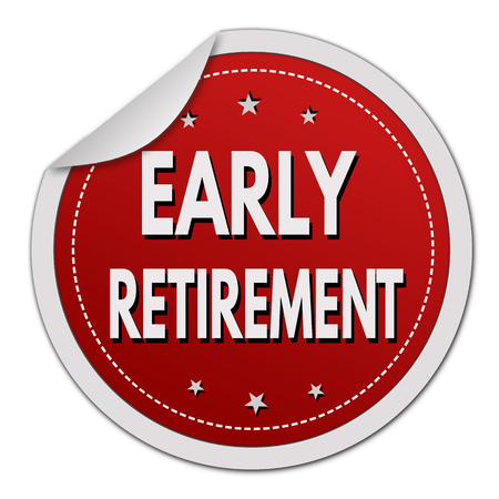 early: Early retirement red sticker on white background, vector illustration