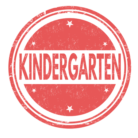 playschool: Kindergarten grunge rubber stamp on white background, vector illustration Illustration