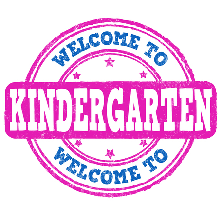 playschool: Welcome kindergarten grunge rubber stamp on white background, vector illustration