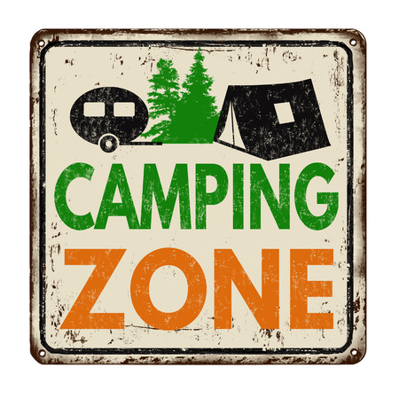 rusty metal: Camping zone vintage rusty metal sign on a white background, vector illustration