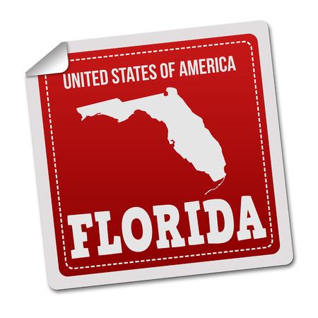 white sticker: Florida sticker or label on white background, vector illustration