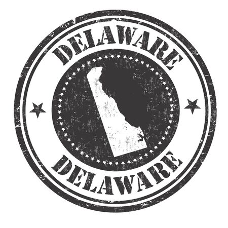 identifier: Grunge rubber stamp with the name and map of Delaware, vector illustration