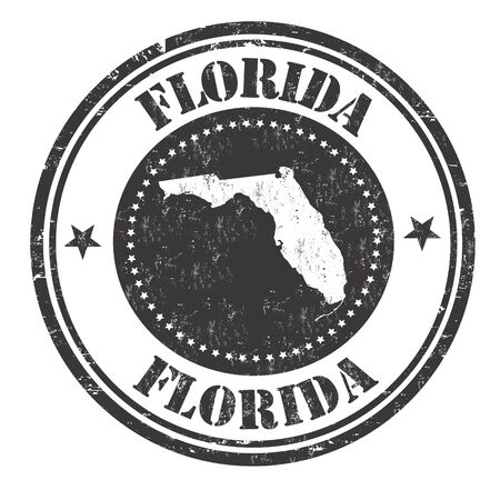 imprinted: Grunge rubber stamp with the name and map of Florida, vector illustration