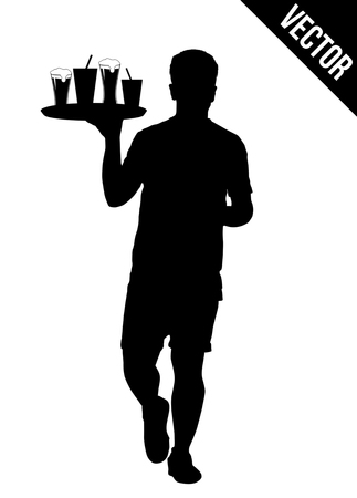 waiter tray: Waiter silhouette with the tray on white background, vector illustration