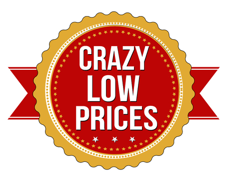low prices: Crazy low prices label or stamp on white background, vector illustration
