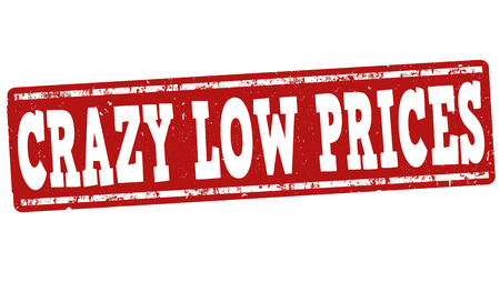 low prices: Crazy low prices grunge rubber stamp on white background, vector illustration