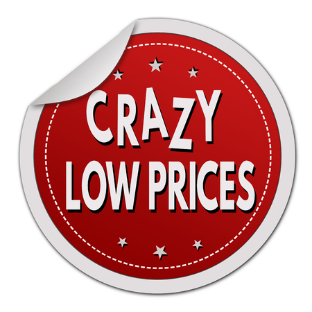 low prices: Crazy low prices red sticker on white background, vector illustration