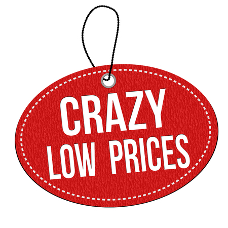 low prices: Crazy low prices red leather label or price tag on white background, vector illustration Illustration