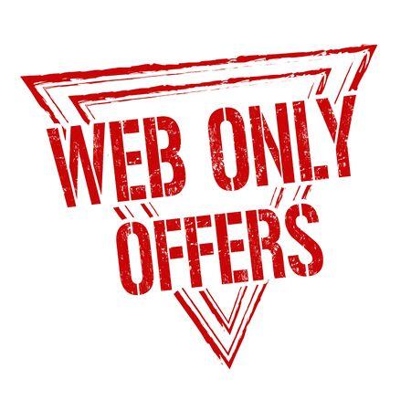 internet mark: Web only offers grunge rubber stamp on white background, vector illustration