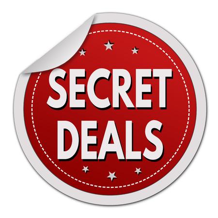Secret deals red sticker on white background, vector illustration