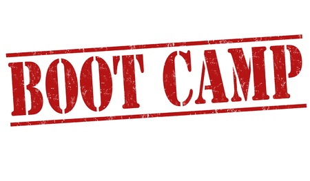 millitary: Boot camp grunge rubber stamp on white background, vector illustration