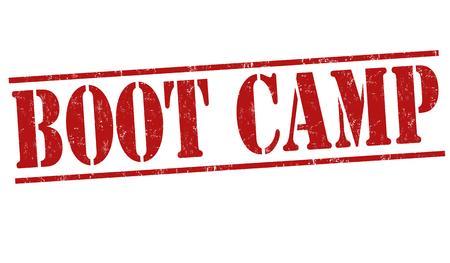 Boot camp grunge rubber stempel op een witte achtergrond, vector illustratie